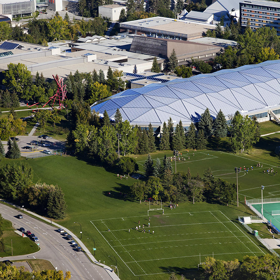 Aerial view of the Olympic Oval and UCalgary campus