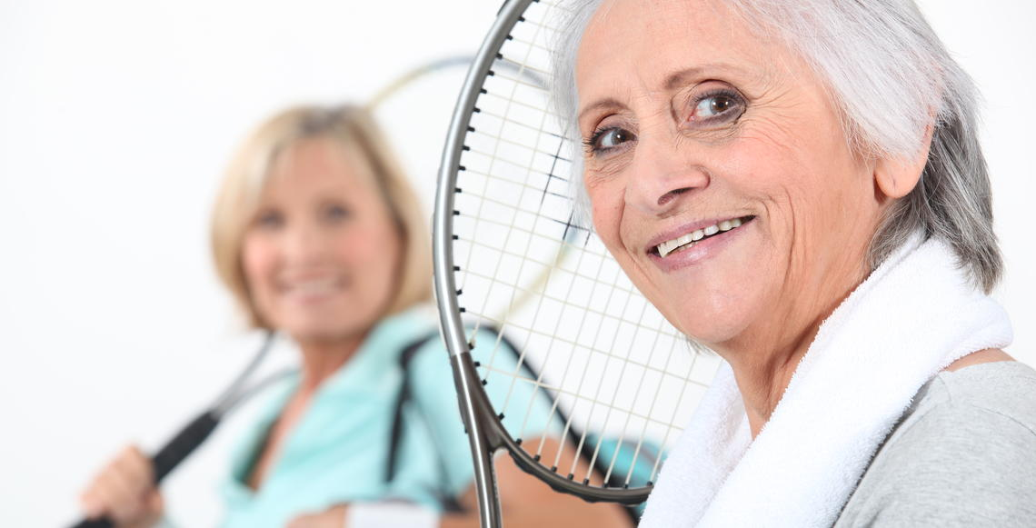 Women playing racquet sports