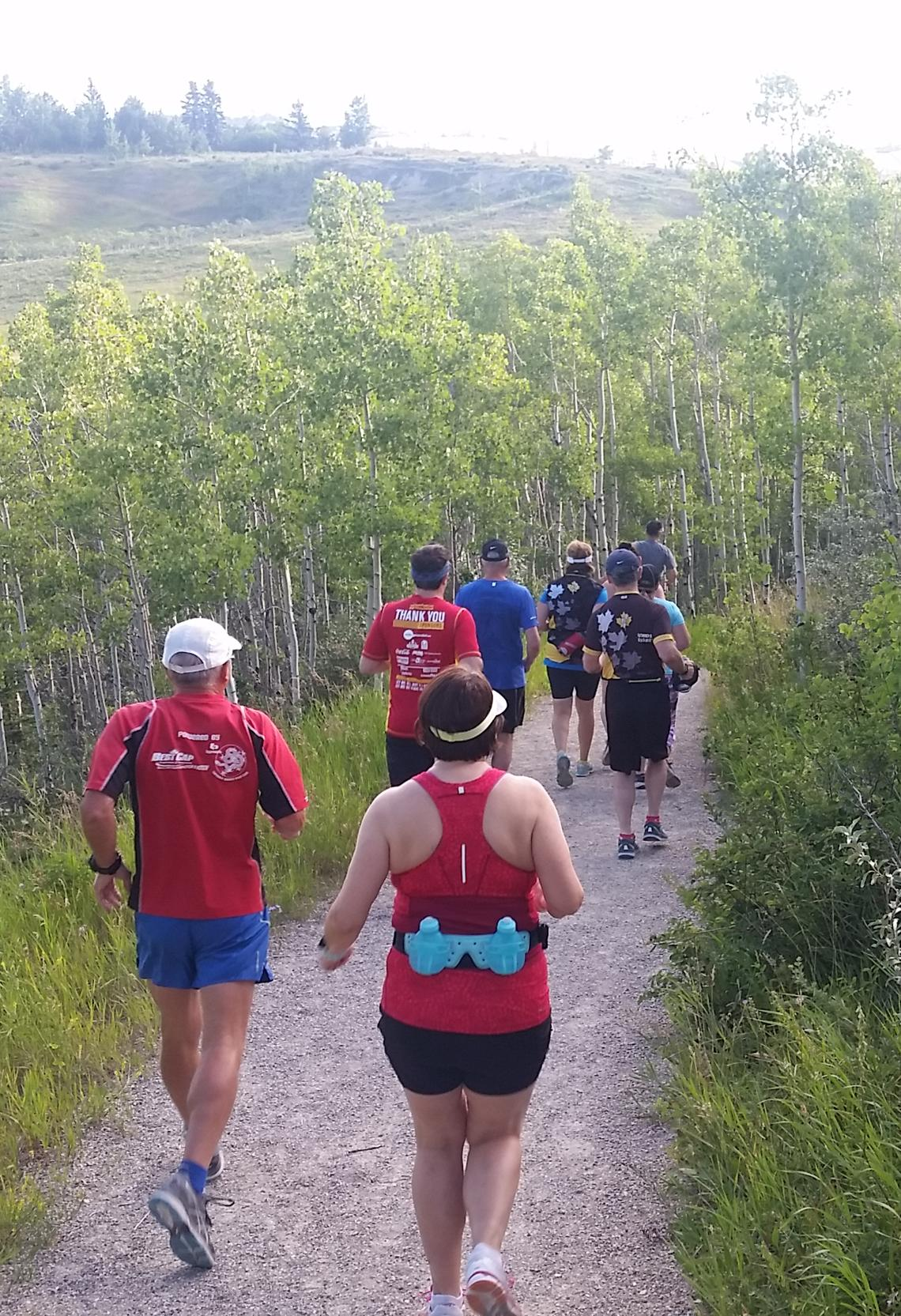 Group run in mild weather with UCalgary Marathon program