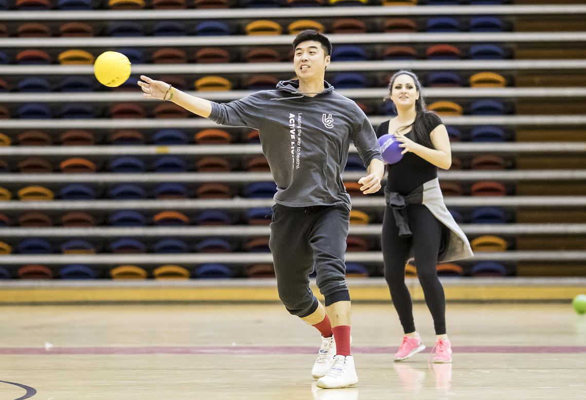 Dodgeball player throwing a ball