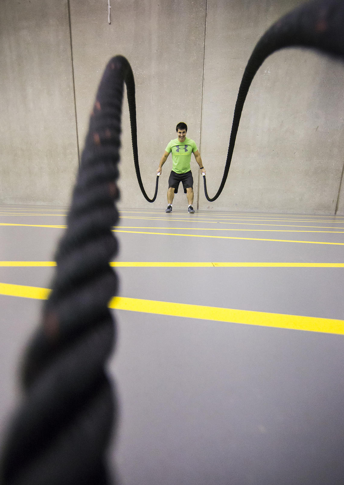 battle rope workout in the fitness centre track area