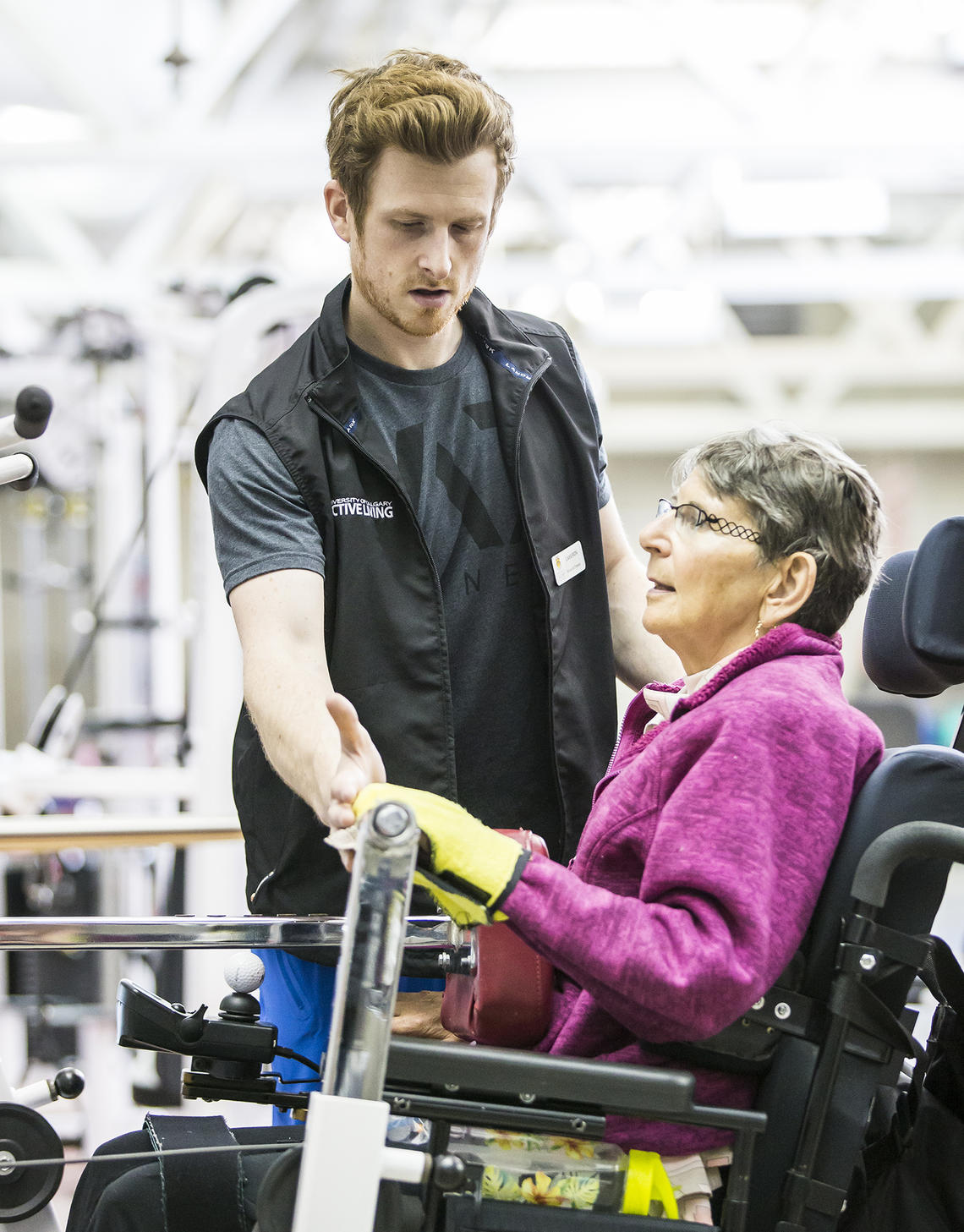UCalgary Rehab fitness member works on her strength training