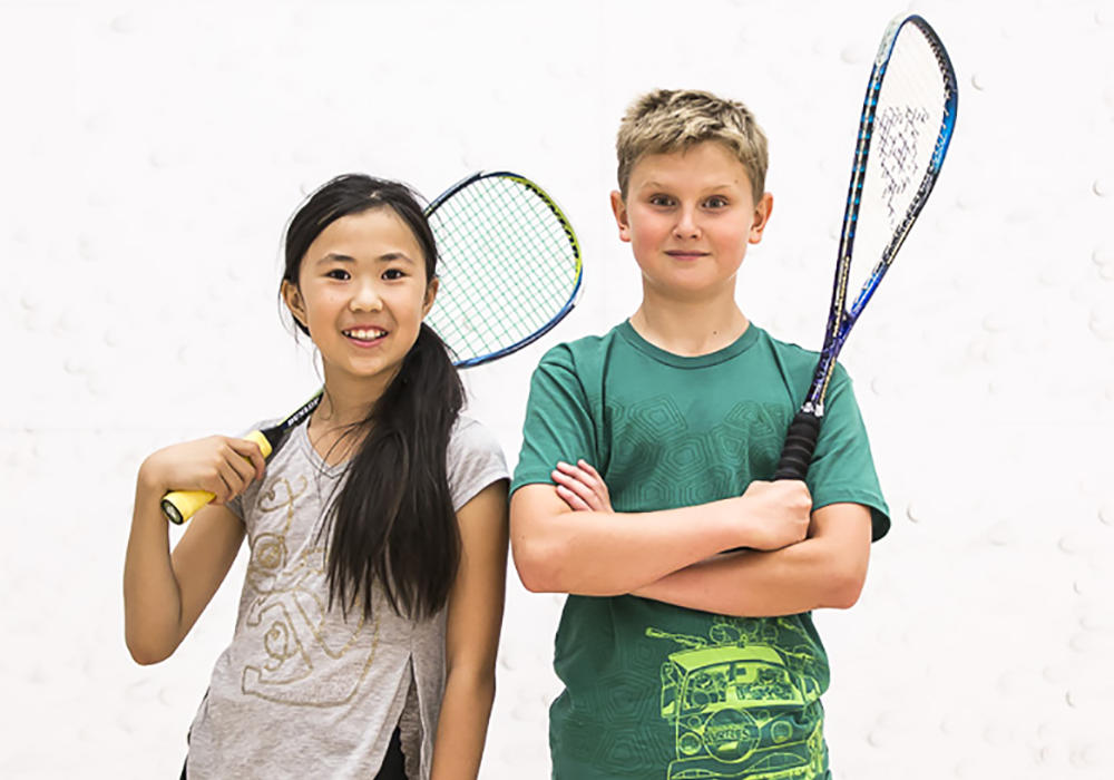 Kids ready to play squash
