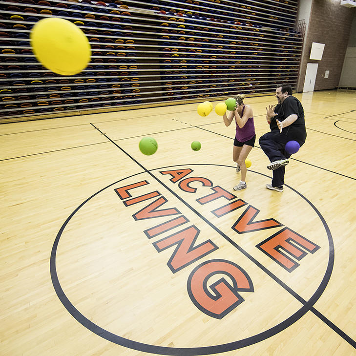 Dodgeball in the gymnasium