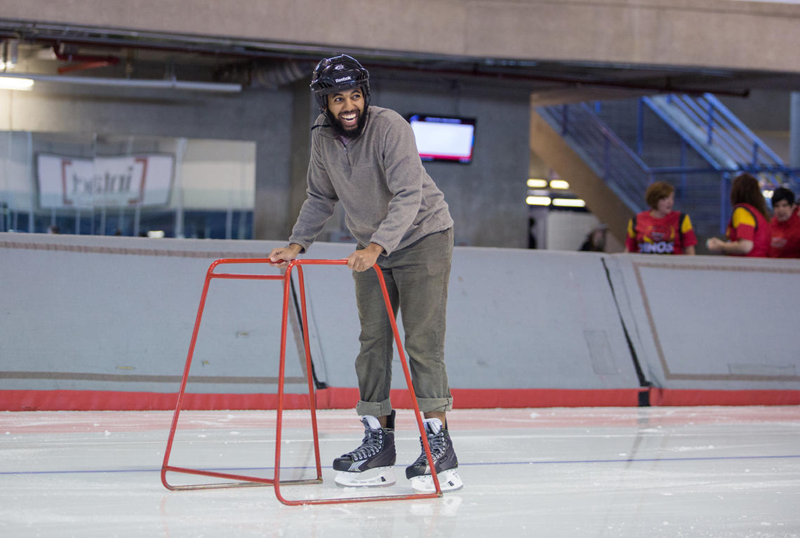 Olympic Oval public skating with a balance device