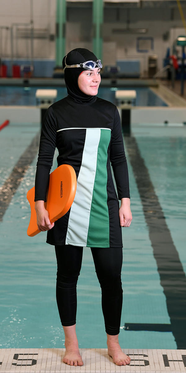 Modesty swimwear burkini available at UCalgary Active Living Client Services desk