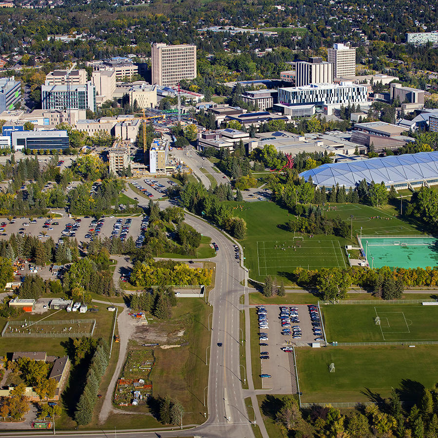 Aerial shot of University of Calgary campus and sport fields