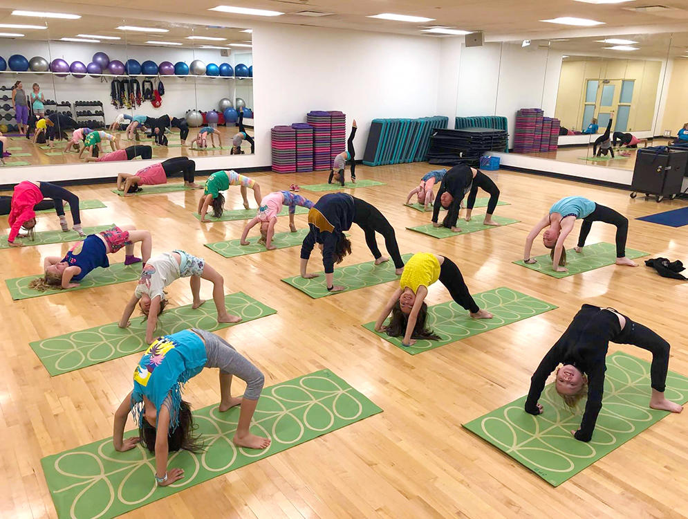Yoga class at UCalgary Figure Skating Summer Camp