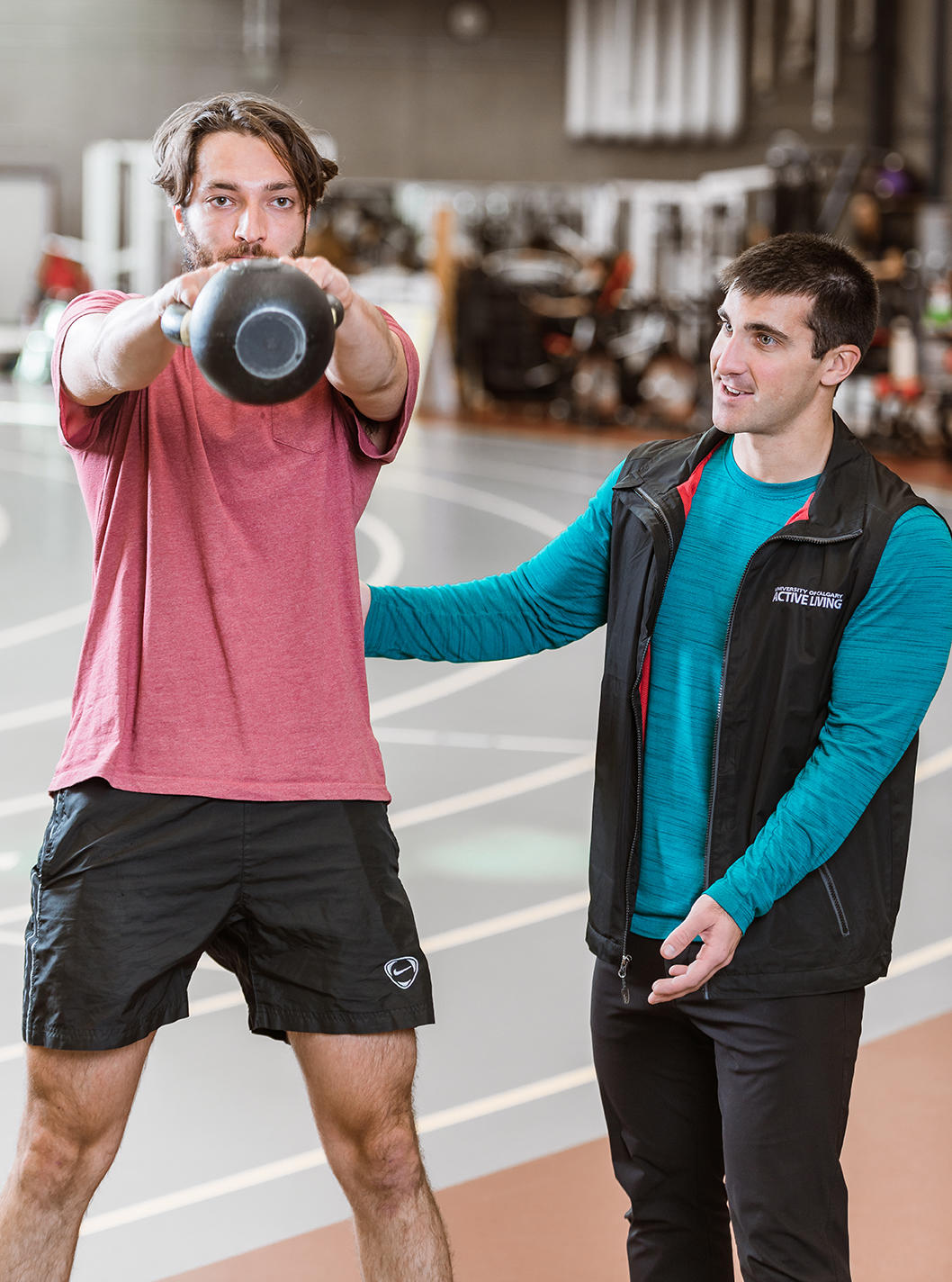 Active Living Personal Training Coordinator Nick Lapointe, right, with a fitness client